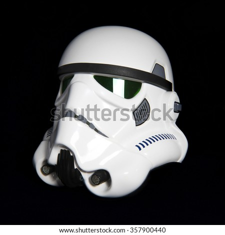 BLOOMFIELD, NEW JERSEY - JAN 3, 2016: Studio image of an EFX Star Wars ANH Stormtrooper helmet, also known as a bucket.