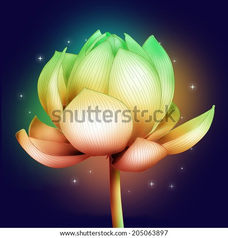blooming lotus bud on the background of space and stars