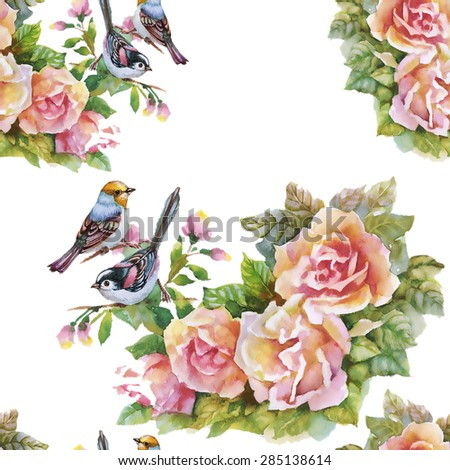 Blooming Pink Rose flowers with birds, watercolor seamless pattern on white background  - stock photo