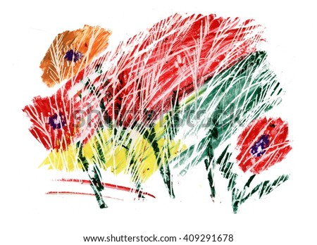 Blooming poppy flowers scribble illustration