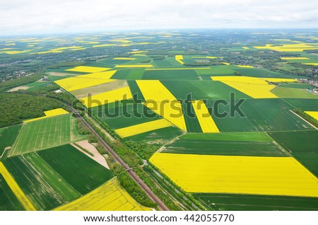 Blooming rapeseed field in France, the view from the plane
