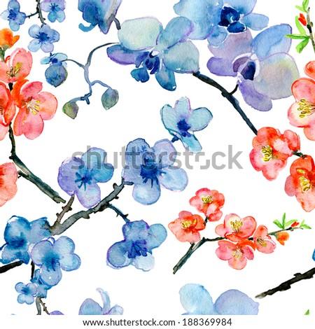Blooming tree seamless pattern - stock photo