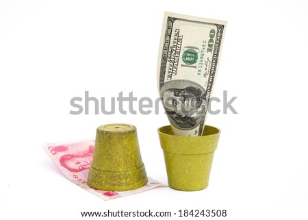 blooming USD and rotten RMB with clipping path, financial concept - stock photo