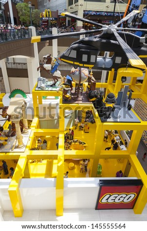 BLOOMINGTON, MN - JULY 06,  - Mall of America on July 06, 2013  in Minnesota. The lego store has large areas where kids can build with thousands of lego pieces. - stock photo