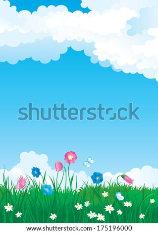 Blossom summer. Illustration of summer landscape with many flowers on green grass and blue sky with fluffy clouds