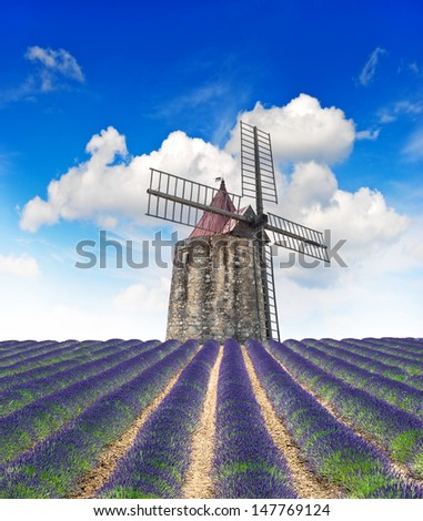 Blossoming lavender field with wind mill and beautiful blue sky. Landscape in Provence, France - stock photo