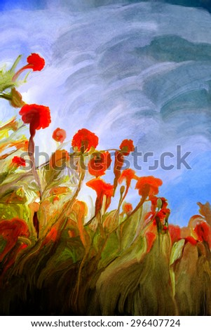Blossoming poppy and poppy buds drawn by oil color  - stock photo