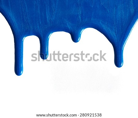Blot of blue nail polish isolated on white background - stock photo