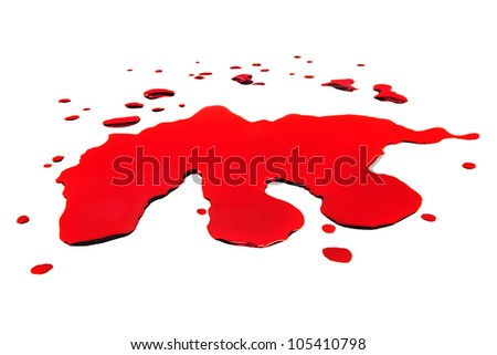 Blot of red blood closeup isolated on white