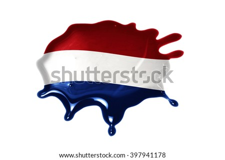 blot with national flag of netherlands on the white background - stock photo
