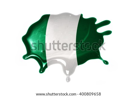 blot with national flag of nigeria on the white background.3D illustration - stock photo