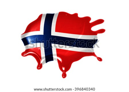 blot with national flag of norway on the white background - stock photo