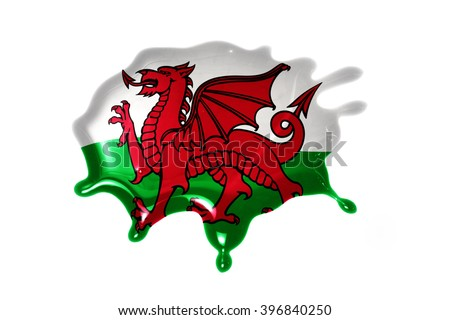 blot with national flag of wales on the white background - stock photo