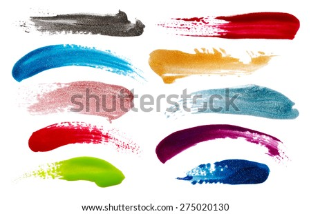 Blots of nail polish isolated on white background - stock photo