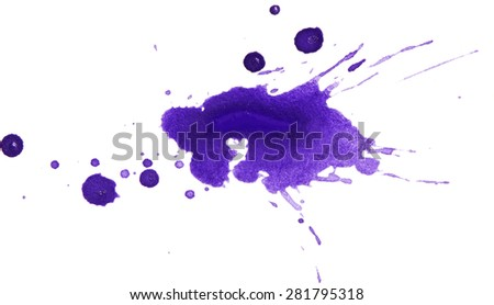 Blots of paint isolated on white background - stock photo