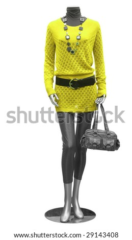 blouse and tights on mannequin isolated on white - stock photo