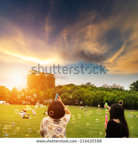Blowing bubbles in the grass - stock photo