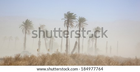 Blowing dust in the Coachella Valley of California - stock photo