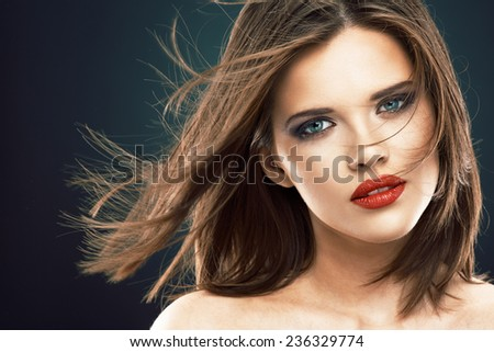 Blowing hair beauty woman face portrait. Hair style. - stock photo