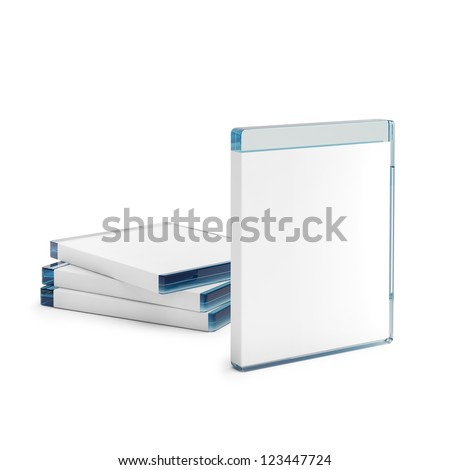 Blu ray disc boxes isolated on white background - stock photo