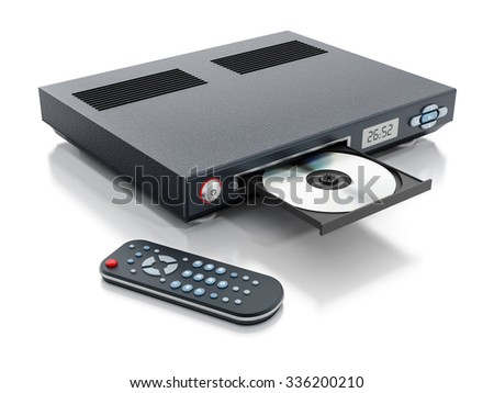 Blu-ray player with open disc tray and remote controller - stock photo