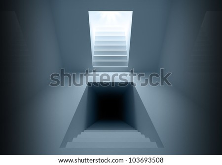 Blue abstract architecture interior with lighting and dark stairway portals going up into the light and down to the dark