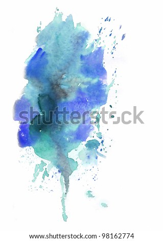 Blue Abstract background painted in watercolor - stock photo
