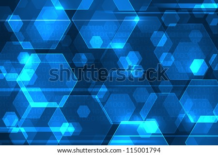Blue abstract background with binary code. Web technology concept. - stock photo