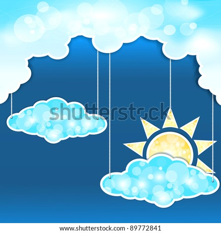 blue abstract background with clouds and sun (JPEG version)