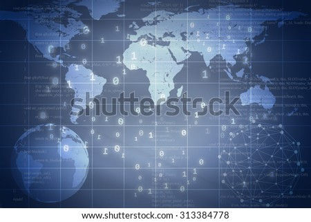 Blue abstract background with Earth and world map. Elements of this image furnished by NASA