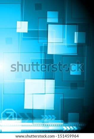 Blue abstract background with squares