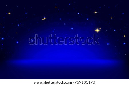 Blue abstract background with stars. Christmas background.
