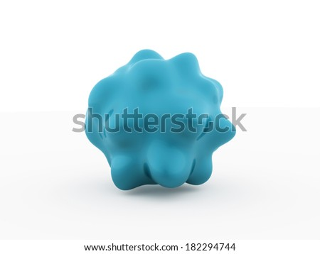 Blue abstract bacteria cell rendered isolated on white background - stock photo