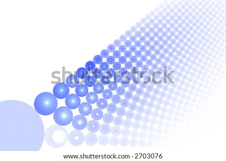 Blue abstract balls large background over white with copyspace - stock photo