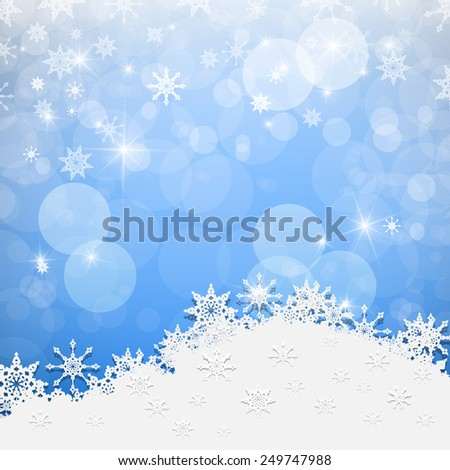 Blue Abstract Blurred Bokeh Winter Background with Paper Snowflakes - stock photo