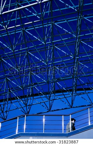 Blue abstract ceiling in office center