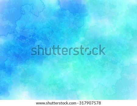 Blue abstract clouds background in watercolor style - stock photo