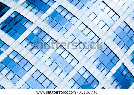 Blue abstract crop of modern office skyscraper