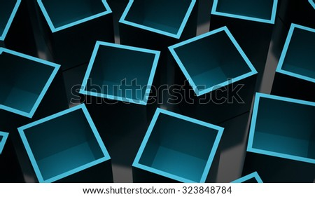 Blue abstract cubes background rendered