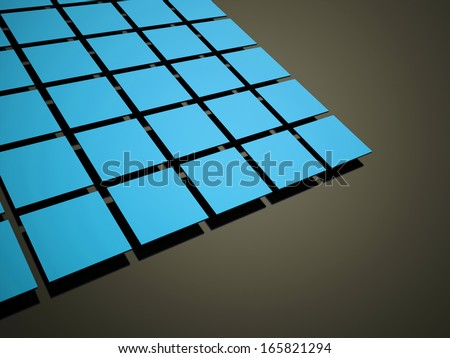 Blue abstract cubes background rendered on black
