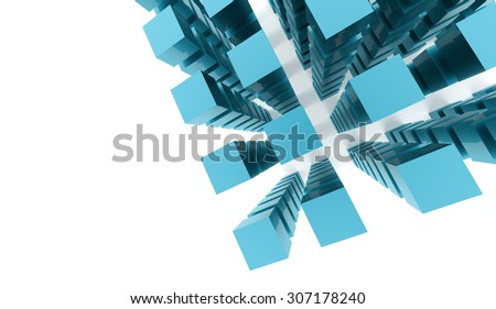 Blue abstract cubes background rendered on white background - stock photo
