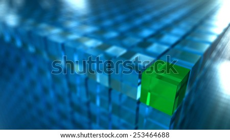 Blue abstract 3d cubes background with a green block. - stock photo