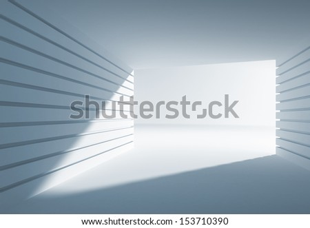 Blue abstract 3d interior with angle of light in modern gate - stock photo