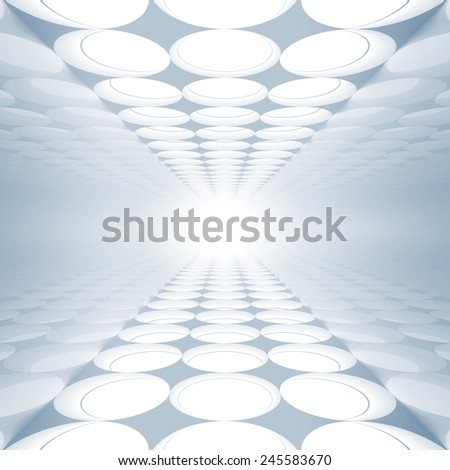 Blue abstract 3d interior with round decoration lights pattern on floor and ceiling - stock photo