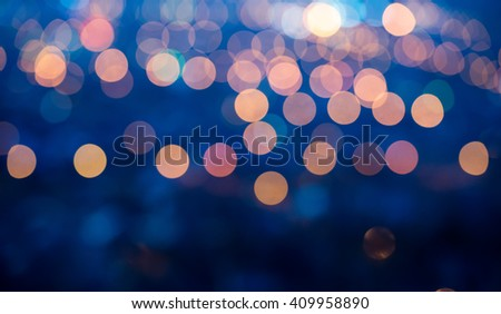 blue abstract defocused light background for Christmas, panorama - stock photo