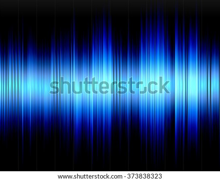 Blue abstract digital sound wave on a black background.