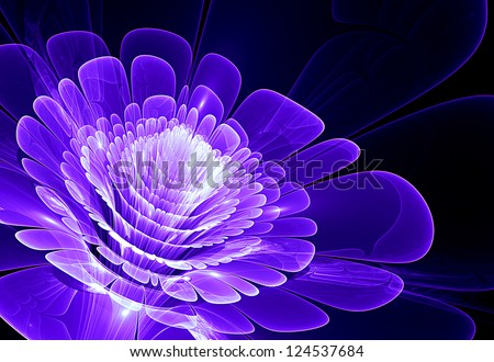blue abstract flower blossom - stock photo
