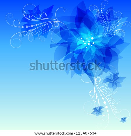 Blue abstract flowers, corner vignette. Raster copy of vector image