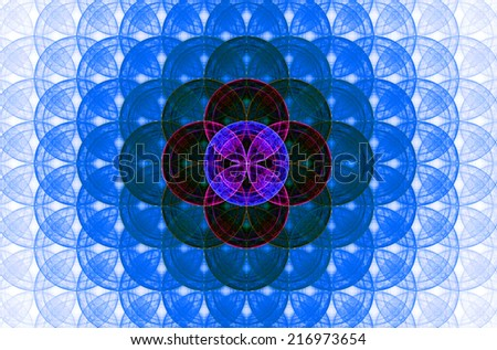 Blue abstract fractal background with a detailed decorative flower of life pattern spreading from the center which is in dark pink, green and purple colors - stock photo