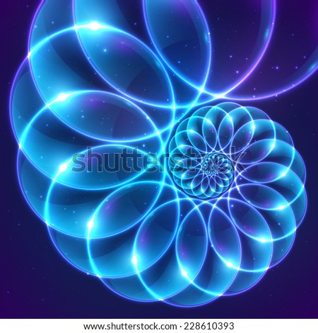 Blue abstract fractal shining cosmic spiral